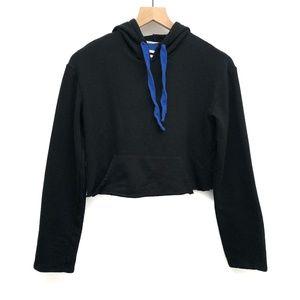 Zara Trafaluc Black & Blue Crop Hoodie - Size S
